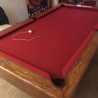 Nearly Perfect Red Velvet Pool Table In Excellent Condition