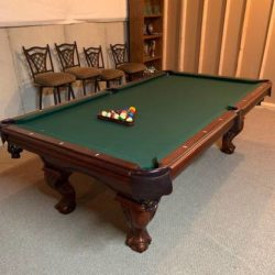 Pool Table, 2 Spectator Chairs & Wallmounted Rack